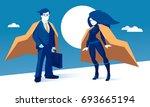 cartoon superhero couple  man... | Shutterstock .eps vector #693665194