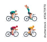 group of cyclists in road... | Shutterstock .eps vector #693675970