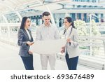 three people are business...   Shutterstock . vector #693676489