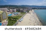 aerial view of sunny beach ... | Shutterstock . vector #693682684