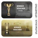 winner voucher with gold trophy ... | Shutterstock .eps vector #693685960
