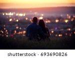 lovers man and girl against... | Shutterstock . vector #693690826