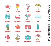 summer vector line icons with... | Shutterstock .eps vector #693698998