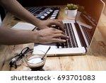 work pc coffee glasses | Shutterstock . vector #693701083