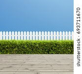 white wooden fence and wooden... | Shutterstock . vector #693711670