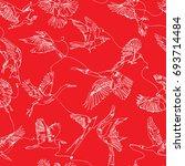 single line birds drawing... | Shutterstock .eps vector #693714484