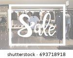 sale text banner sign over men... | Shutterstock . vector #693718918