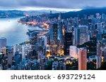 hong kong city view from the... | Shutterstock . vector #693729124
