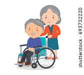 wheelchair elderly man and... | Shutterstock .eps vector #693732220