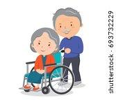 wheelchair elderly woman and... | Shutterstock .eps vector #693732229