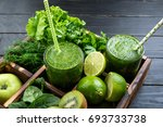healthy green smoothie with... | Shutterstock . vector #693733738