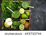 green smoothie with ingredients ... | Shutterstock . vector #693733744