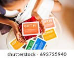package of gifts and discounts... | Shutterstock . vector #693735940