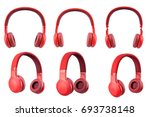 Six Red Headphone Isolate On...