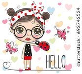 cute cartoon girl with a... | Shutterstock .eps vector #693743524