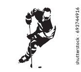 ice hockey player skating with... | Shutterstock .eps vector #693744916