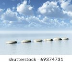 Row Of Stones At Water   3d...