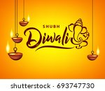 happy diwali wallpaper design... | Shutterstock .eps vector #693747730