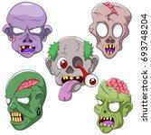 set cartoon zombie head. vector ... | Shutterstock .eps vector #693748204