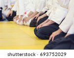 people in kimono and hakama on... | Shutterstock . vector #693752029