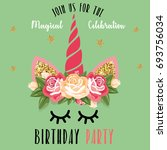 birthday party invitation with... | Shutterstock . vector #693756034