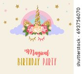 birthday party invitation with... | Shutterstock . vector #693756070