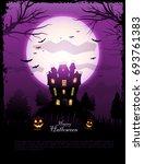 purple halloween haunted house... | Shutterstock .eps vector #693761383
