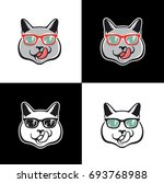 cool cat logo on white   black... | Shutterstock .eps vector #693768988