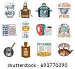 apron and saucepan  bagel and... | Shutterstock .eps vector #693770290