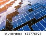 beautiful sunset over solar...   Shutterstock . vector #693776929