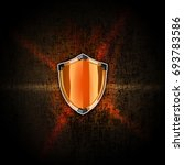 orange shield with black... | Shutterstock . vector #693783586