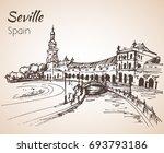 sketch of spain city seville.... | Shutterstock .eps vector #693793186