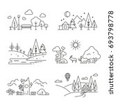 nature landscape outline icons... | Shutterstock . vector #693798778