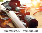 Close up of rifle telescope for ...