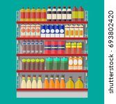 supermarket shelves with... | Shutterstock .eps vector #693802420