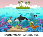 illustration of fish and coral... | Shutterstock .eps vector #693802456