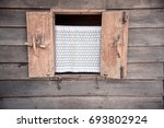 wooden window on the old wooden ... | Shutterstock . vector #693802924