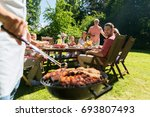 food  people and family time... | Shutterstock . vector #693807493
