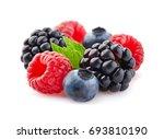 mix berries in closeup with... | Shutterstock . vector #693810190