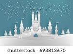 castle in winter with beautiful ... | Shutterstock .eps vector #693813670