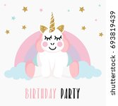 birthday party invitation with... | Shutterstock . vector #693819439
