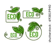 doodle organic leaves emblems ... | Shutterstock .eps vector #693819940