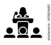 podium icon with microphone  ...   Shutterstock .eps vector #693824683