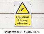 yellow warning sign caution... | Shutterstock . vector #693827878
