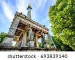 famous friedensengel in munich  ... | Shutterstock . vector #693839140