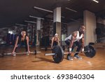 people doing deadlift with... | Shutterstock . vector #693840304