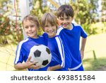 three nice young boys with... | Shutterstock . vector #693851584