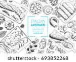 italian food top view. a set of ... | Shutterstock .eps vector #693852268