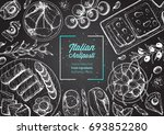 italian food top view. a set of ... | Shutterstock .eps vector #693852280