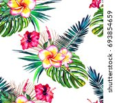 tropical floral seamless ... | Shutterstock . vector #693854659